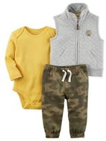 Carter's 3-Piece Vest, Bodysuit, and Pant Set in Grey/Camo