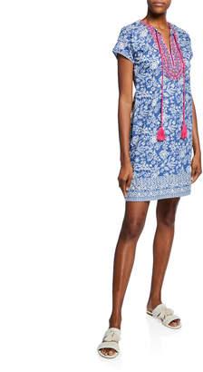 Bella Tu Brooke Floral-Print Split-Neck Cap-Sleeve Dress w/ Embroidered Trim