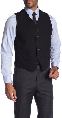 Ben Sherman Solid Front Button Suit Separate Vest