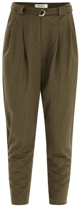 Paisie Peg Leg Trousers With D-Ring Belt In Green