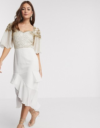 Virgos Lounge embellished midi dress with flutter sleeve and ruffle skirt in ivory