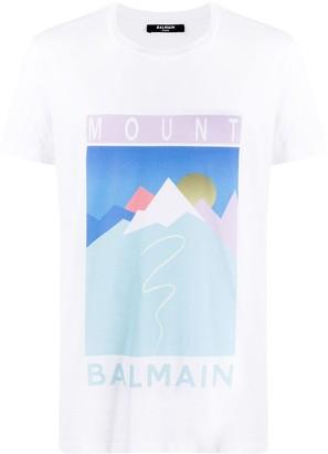 Balmain Mount print T-shirt