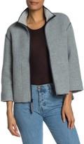 James Perse Zip Front Wool Blend Scuba Jacket