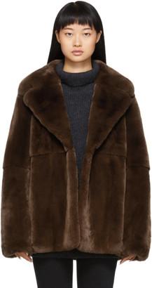 Yves Salomon Brown Rex Rabbit Fur Jacket