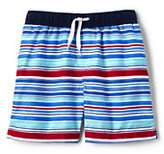 Classic Little Boys Volley Printed Swim Trunks-White Multi Stripe