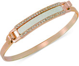 GUESS Rose Gold-Tone Faux Leather and Crystal Hinged Bangle Bracelet