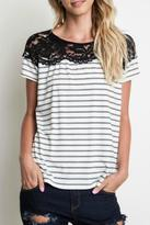 Umgee USA Striped Lace Top