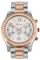 Geneva Platinum Women's Rhinestone Accent Bezel Link Bracelet Watch - Two Tone