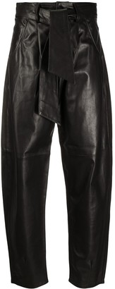FEDERICA TOSI Belted Cropped Leather Trousers