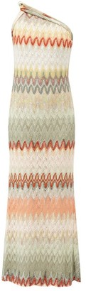 Missoni One Shoulder Zigzag Knitted Gown - Womens - White Multi