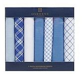 Osborne Pack Of Six Blue And White Patterned Handkerchiefs
