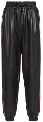 Miu Miu Side-Stripe Leather Sweatpants