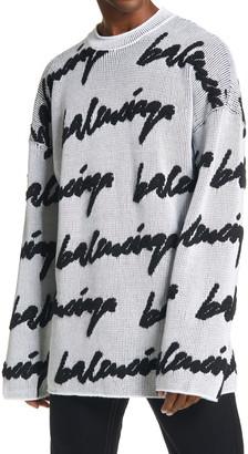 Balenciaga Logo Jacquard Sweater