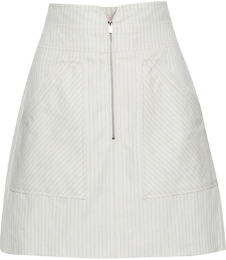 Rebecca Taylor Pinstriped Cotton And Linen-blend Mini Skirt