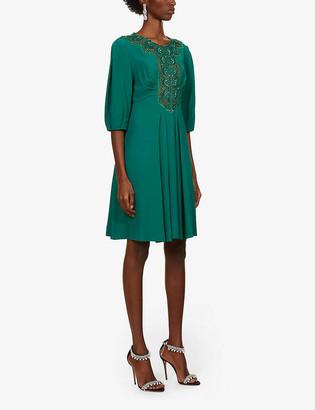 Alberta Ferretti Sequin-embellished crepe mini dress