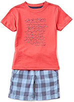 Nautica Little Boys 2T-7 Graphic Tee and Checked Shorts Set