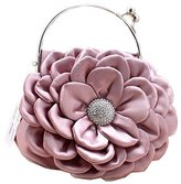 MedzRE Women's Sweet Silk Formal Party Mini Flower Clutch Bag Purse