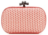 Bottega Veneta Knot Snakeskin-trimmed Printed Leather Box Clutch