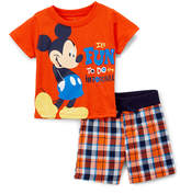 Children's Apparel Network Mickey Mouse Orange Crewneck Tee & Navy Plaid Shorts - Infant