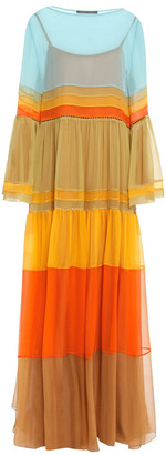 Alberta Ferretti Layered Color-block Silk-georgette Maxi Dress