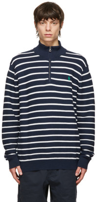 Polo Ralph Lauren Navy and White Cotton Mesh Quarter-Zip Sweater