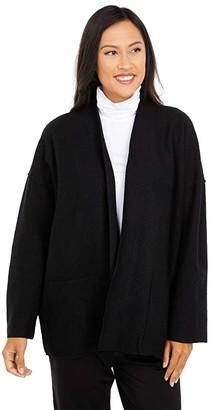 Eileen Fisher Lightweight Boiled Wool High Collar Jacket (Black) Women's Clothing
