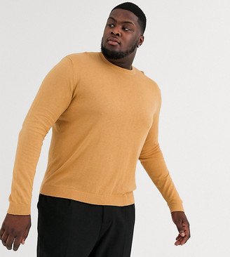 ASOS DESIGN Plus crew neck cotton sweater in camel