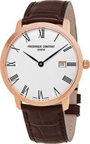 Frederique Constant Men's 'Slimline' Automatic Stainless Steel and Leather Casual Watch, Color:Brown (Model: FC-306MR4S4)