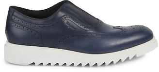 Salvatore Ferragamo Carl Brogue Leather Slip-On Dress Shoes