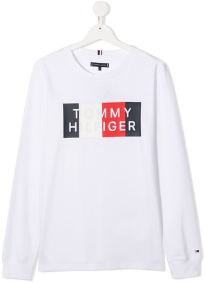 Tommy Hilfiger Junior TEEN logo-print crew neck sweatshirt