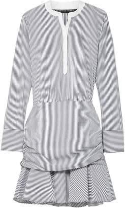Veronica Beard Everett Ruched Striped Cotton-poplin Mini Dress