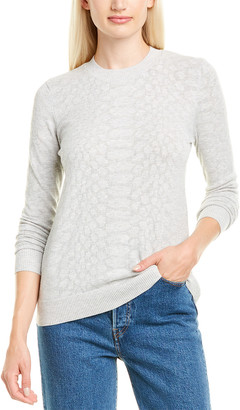 Minnie Rose Tonal Mesh Snakeskin Sweater