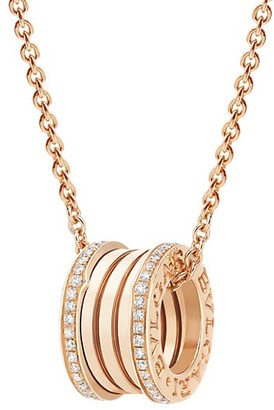 Bvlgari B.zero1 18K Rose Gold & Diamond Pendant Necklace
