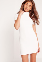Missguided Petite Wrap Back Ribbed Bodycon Dress White