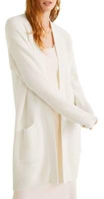 MANGO Waffle-Knit Cotton-Blend Cardigan
