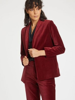 Thought - Organic Cotton Velvet Jacket In Redcurrant Red - 16
