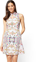 New York & Co. Cotton Halter Fit and Flare Dress - Print