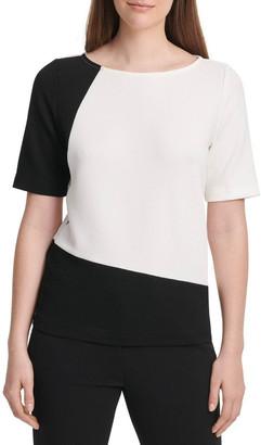 DKNY Short Sleeve Colorblock Top