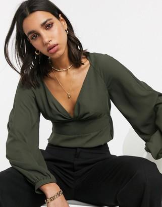 ASOS DESIGN v neck long sleeve waisted blouse in Khaki