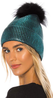 Jocelyn Metallic Silver Fox Fur Pom Beanie