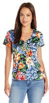 Caribbean Joe Women's Petite Best Selling Paisley Printed V-Neck Side Ruched T-Shirt