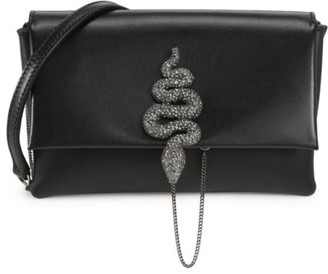 Valentino Small Maison Snake Leather Crossbody Bag