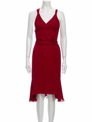 J. Mendel V-Neck Midi Length Dress Red