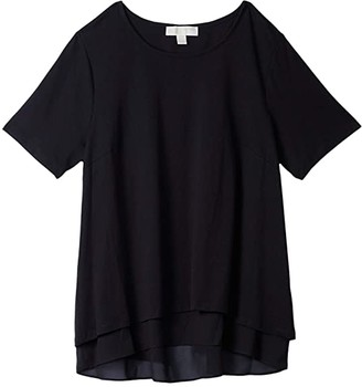 MICHAEL Michael Kors Size Back Cutout Short Sleeve Top (Black) Women's Clothing