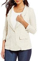 Jones New York Washed Linen-Blend Frayed Edge Boyfriend Jacket