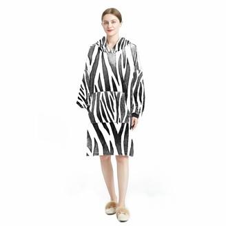 Bennigiry Hoodie Blanket Home Wear Cosy Wearable Hooded Sweatshirt for Women One Size Fits Zebras Black White