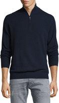 Neiman Marcus Cashmere Zip-Neck Sweater, Midnight