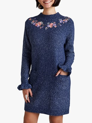 Yumi Floral Embroidery Glitter Tunic Dress, Navy
