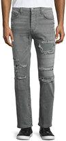 J Brand Tyler Destroyed Slim-Fit Denim Jeans, Destructed Olanti