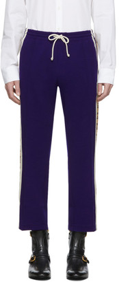 Gucci Blue Wool Jersey Cropped Jogging Pants